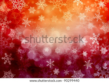 Varied red bright Christmas background with snowflakes in different sizes. Snowflakes are drawn from these natural snowflakes. - stock photo