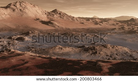 Varied rock formations transecting Martain terrain - stock photo