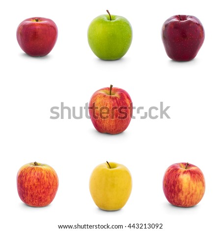 Varieties of apples collection (New Zealand Eve, Granny Smith, Red Del, Ambrosia, Divine, Lemonade, Fuji, Gala) isolate on white background with clipping path, Side View - stock photo