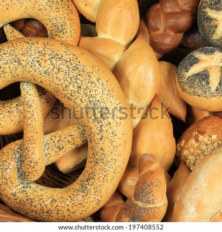 Varieties of bread in Europe. European bakery food products.