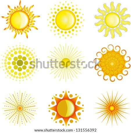 varieties of the sun - stock photo