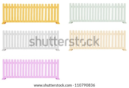 variety color of wooden fence isolated white - stock photo