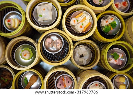 variety dim sum at restaurant in trang province, on south of Thailand. - stock photo