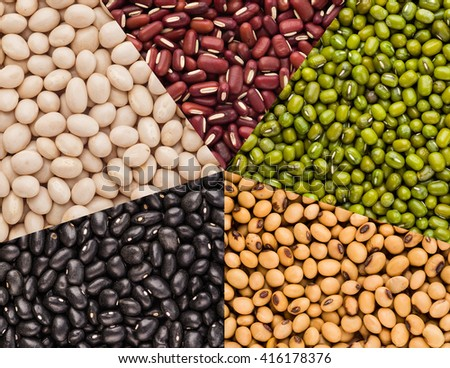 Variety Five colour  beans.