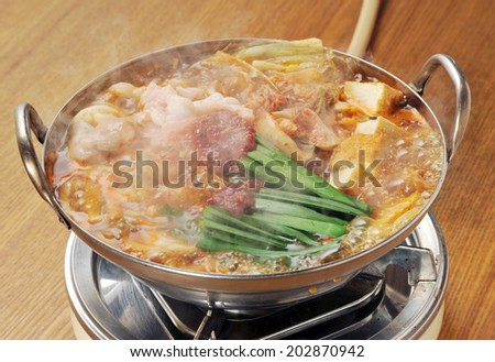 variety meat hot pot, motsunabe, japanese cuisine-3 - stock photo