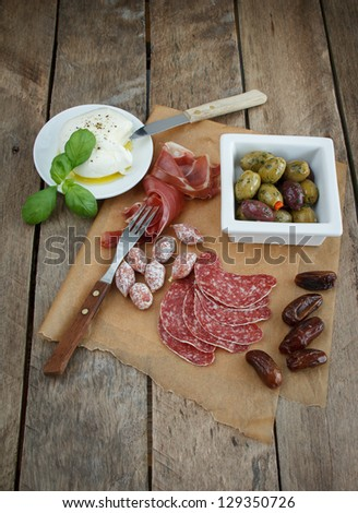 variety of antipasti. - stock photo