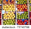 variety of apples and pears, natural background - stock photo
