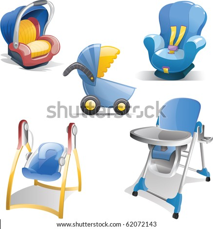 Variety of baby gear icons including baby carrier, car seat, stroller, swing and high chair. - stock photo