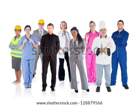 Variety of careers on white background - stock photo