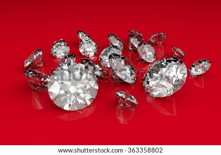 Variety of clear sparkling diamonds on a red glossy background - stock photo