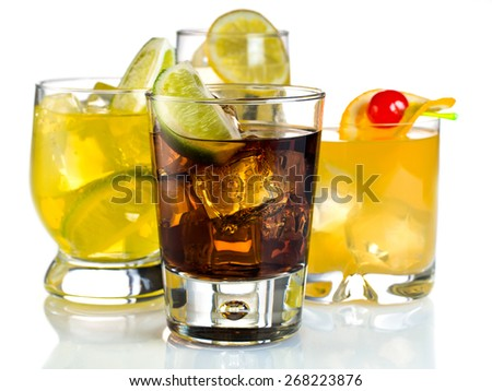 Variety of cocktails on white background - stock photo
