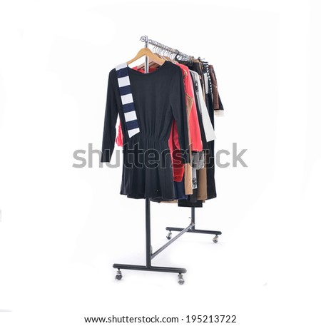 Variety of colorful fashion clothing on hanging - stock photo