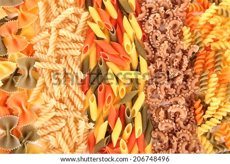 Variety of colorful pasta, close-up - stock photo