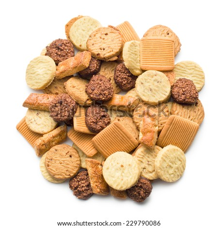 variety of cookies on white background - stock photo