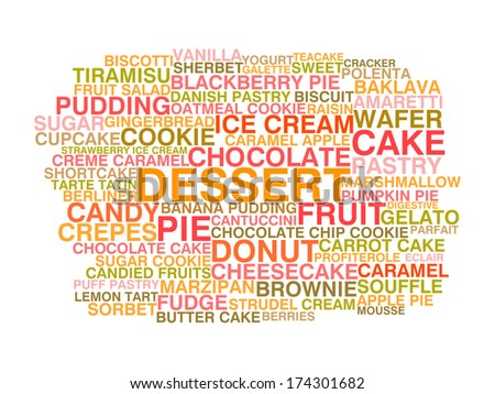 Variety of desserts. Word cloud concept. Raster version - stock photo