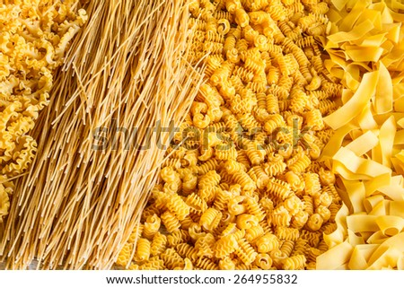 Variety of egg pasta background - stock photo