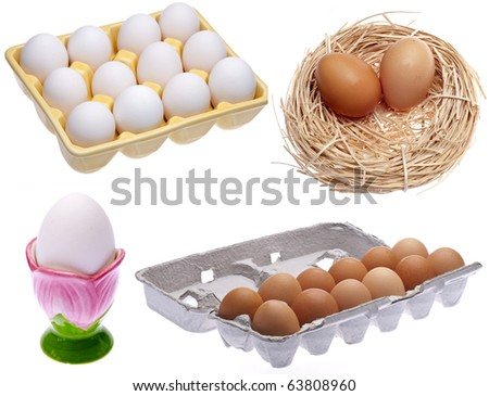 Variety of Eggs in Cartons, Dish and Nest.  Isolated on White with a Clipping Path. - stock photo