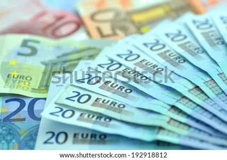 variety of euro banknotes - stock photo