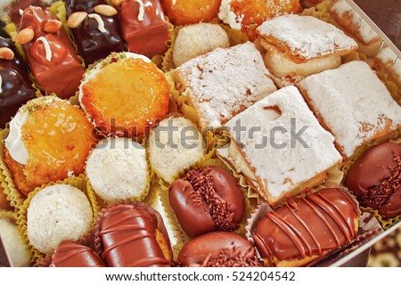 variety of french pastry sweets, tasty  background