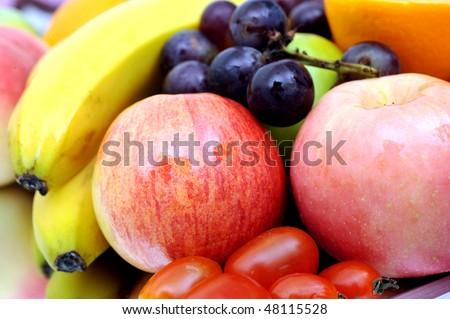 Variety of fresh natural fruits. - stock photo