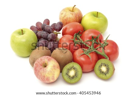 Variety of fruit and tomatoes  - stock photo
