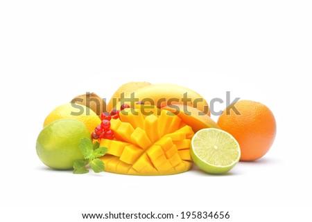 Variety of fruits on white background  - stock photo