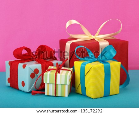 variety of gift boxes - stock photo