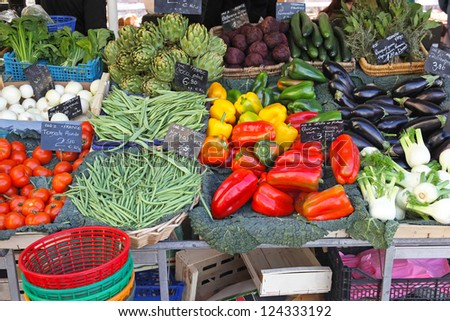 Variety of green vegetables at farmers market - stock photo