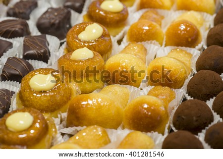 variety of handmade pastry filled with cream - stock photo