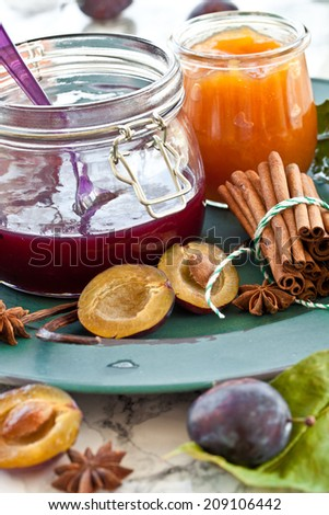 Variety of homemade plum jams with winterly spices - stock photo