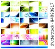 variety of 40 horizontal abstract business cards templates - stock photo