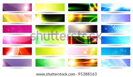 variety of 24 horizontal multicolored web banner set over white