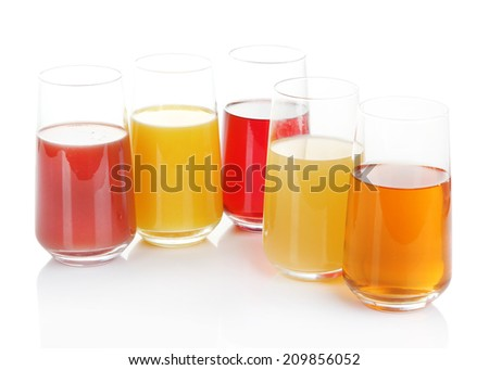 Variety of juices in glasses, isolated on white