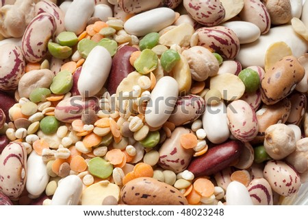 variety of legumes close up - stock photo