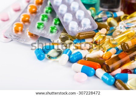 Variety of medicines and drugs - stock photo