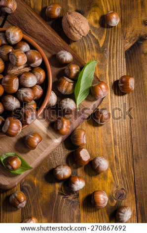 Variety of nuts (hazelnuts and walnuts) on rustic wooden background