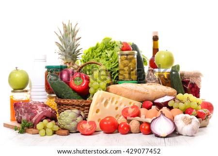 variety of organic food - stock photo