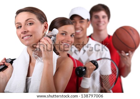 Variety of physical activities - stock photo