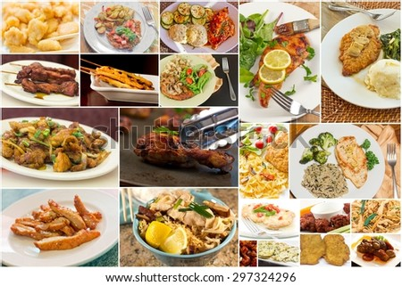 Variety of popular chicken dishes in food collage imagery