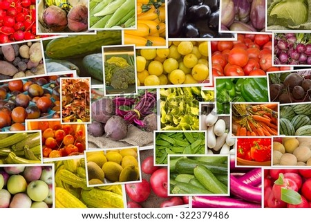 Variety of popular farmers market fruits and vegetables in produce collage imagery - stock photo