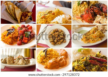 Variety of popular Indian food dishes in collage imagery - stock photo