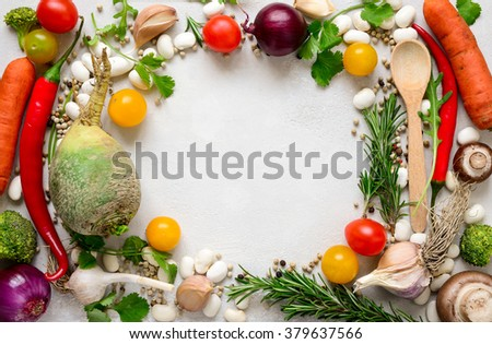 Variety of raw vegetables, culinary concept - stock photo