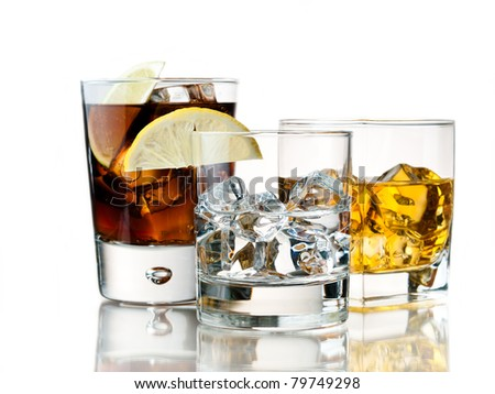 variety of refreshing and alcoholic cocktails - stock photo