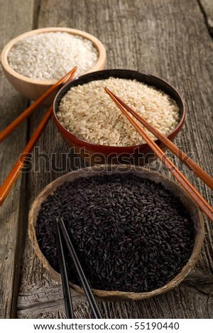 variety of rice on bowl with chopstick - stock photo