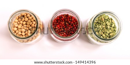 Variety of spices in a glass pot.  - stock photo
