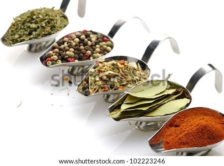Variety Of Spices In Metal Dishes