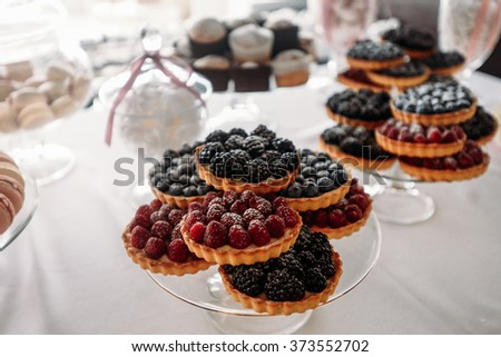 Variety of tasty appetizing sweet desserts with cream, berries and pastry on the grand wedding table. - stock photo