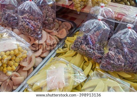 Variety of Thai fruits preserved - stock photo