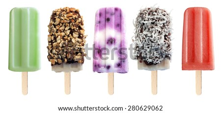 Variety of unique popsicle desserts isolated on a white background - stock photo