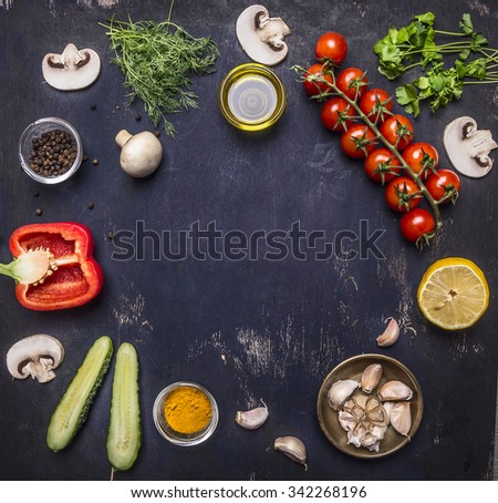 variety of vegetables and fruits, Ingredients for cooking lined frame place for text, on wooden rustic background top view  - stock photo